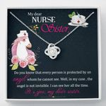 It's You My Dear Sister Unicorn Gift For Nurse Sister 14K White Gold Love Knot Necklace