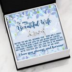 Falling In Love With You Light Blue Flower Scripted Love Necklace Gift For Wife