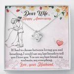 Loving You And Breathing Gift For Wife 14K White Gold Love Knot Necklace