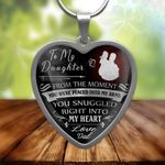 Gift For Daughter You Snugged Right Into My Heart Stainless Heart Pendant Necklace