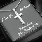 I Can Do All Things Through Christ Cross Necklace Gift For Son