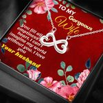 I Can't Imagine My World Without You Infinity Heart Necklace Gift For Her
