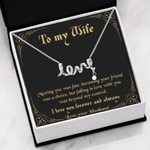 Meeting You Was Fate Black Background Scripted Love Necklace Gift For Wife