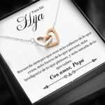 Gift For Para Mi Hija Con Amor Papa Interlocking Hearts Necklace