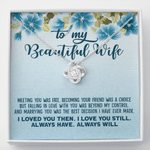 Love Knot Necklace Meeting You Was Fate Blue Flower Gift For Wife
