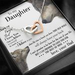 Never Forget That I Love You Gift For Daughter Wolf Interlocking Hearts Necklace
