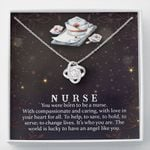 You Were Born To Be A Nurse Gift For Nurse 14K White Gold Love Knot Necklace