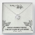 Gift For Wife It Was Just A Lesson 14K White Gold Love Knot Necklace
