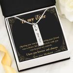 Meeting You Was Fate Black Background Birthstone Name Bar Necklace Gift For Wife