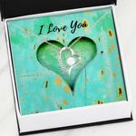 I Love You Green Heart Gift For Girlfriend 14K White Gold Forever Love Necklace