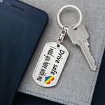 Rainbow Drive Safe Gift For Husband Dog Tag Pendant Keychain