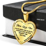 You're Braver Than You Think 18K Gold Heart Pendant Necklace Gift For Mama