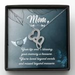 Gift For Angel Mom Your Life Was Blessing Double Hearts Necklace