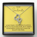 If Love Is Worth Fighting For Double Hearts Necklace Gift For Wife