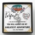 Gift For Wife You Are My Greatest Adventure Double Hearts Necklace
