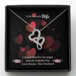 Love Always Husband Gift For Wife Double Hearts Necklace