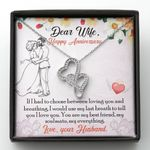 Romantic Anniversary Gift For Wife You Are My Soulmate Double Hearts Necklace