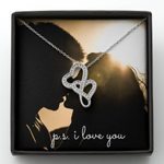 I Love You Couple Kissing Sunrise Double Hearts Necklace Gift For Lover