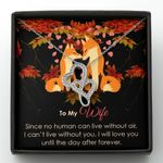 I Can't Live Without You Gift For Wife Fox Double Hearts Necklace