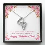 Every Love Story Is Beautiful Double Hearts Necklace Gift For Wife