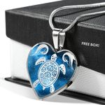 Bohemian Turtle Blue Galaxy Gift For Turtle Lover Stainless Heart Pendant Necklace