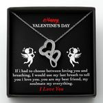 You Are My Best Friend Gift For Lover Double Hearts Necklace