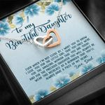 A Piece Of My Heart Blue Hibiscus Interlocking Hearts Necklace Gift For Daughter
