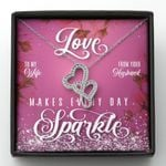 Love Makes Every Day Sparkle Double Hearts Necklace Gift For Wife