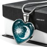 Love Story Between Sun And Moon Stainless Heart Pendant Necklace Gift For Women