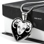 Aries Zodiac Stainless Heart Pendant Necklace Gift For Aries Girls