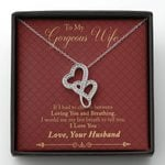Loving You And Breathing Double Hearts Necklace Gift For Wife