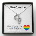 Gift For Soulmate You Are the Best Thing Rainbow Heart Double Hearts Necklace