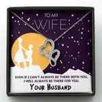 Gift For Wife I'll Always Be There For You Stars Sky Double Hearts Necklace