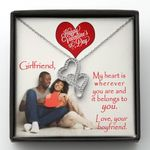 Valentine's Day Gift For Girlfriend My Heart Is Wherever You Are Double Hearts Necklace
