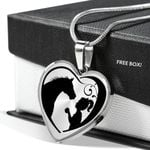 The Baby And Horse Stainless Heart Pendant Necklace Gift For Women