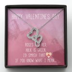 Double Hearts Necklace Gift For Girlfriend I'd Smash That Heart