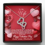 The Most Beautiful And Amazing Wife Double Hearts Necklace Gift For Wife