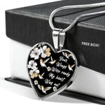 Your Wings Were Ready Hummingbird Stainless Heart Pendant Necklace Gift For Women