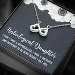 Before I Met Her White Flower Infinity Heart Necklace Gift For Bonus Daughter