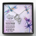 Dragonfly Never Forget I Love You Double Hearts Necklace Gift For Daughter