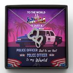 To The World My Mom Is Just A Police Officer Gift For Police Mom Double Hearts Necklace
