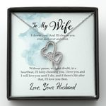 Love You Until I Die Double Hearts Necklace Gift For Wife