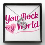 You Rock My World Gift For Lover Double Hearts Necklace