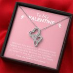 My Heart Is And Always Will Be Yours Double Hearts Necklace Gift For Lovers