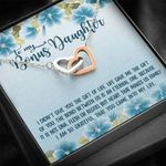 So Grateful To Have You Blue Hibiscus Interlocking Hearts Necklace Gift For Daughter