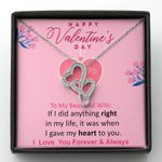 Pink I Gave My Heart To You Gift For Wife Double Hearts Necklace