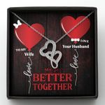 We're Better Together Heart Balloon Double Hearts Necklace Gift For Wife