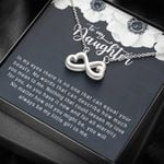 White Flower Nothing Can Lessen My Love For You Infinity Heart Necklace Gift For Daughter
