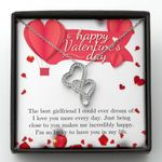 Valentine's Day Gift For Girlfriend So Lucky To Have You In Life Double Hearts Necklace