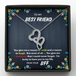 You Give Me A Reason To Smile Gift For BFF Double Hearts Necklace
